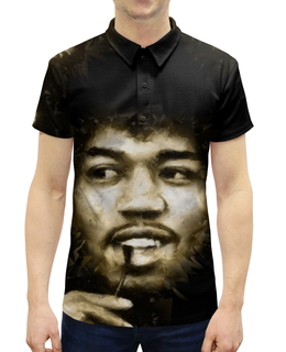 """Рубашка Поло с полной запечаткой """"Джими Хендрикс"""" - гитарист, музыкант, певец, рок, музыка"""