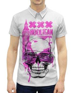 """Рубашка Поло с полной запечаткой """"Хулиган"""" - skull, череп, клуб, хулиган, очкижалюзи"""