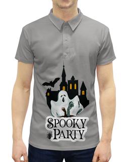 """Рубашка Поло с полной запечаткой """"Хэллоуин"""" - хэллоуин, привидение"""