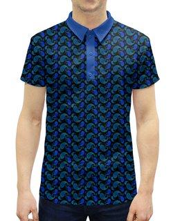 """Рубашка Поло с полной запечаткой """"Мужской орнамент пейсли на черном фоне """" - узор, орнамент, растения, индийский, пейсли"""