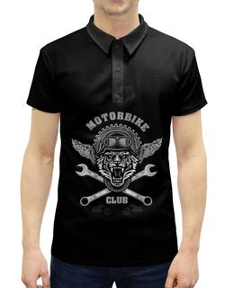 "Рубашка Поло с полной запечаткой ""Байкер"" - спорт, мотоцикл, байкер, тигр"