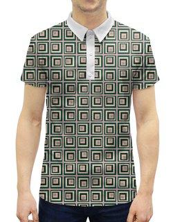 """Рубашка Поло с полной запечаткой """"Квадраты"""" - желтый, розовый, синий, квадрат, фон"""