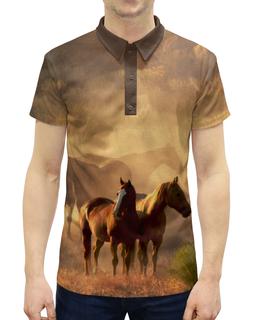 """Рубашка Поло с полной запечаткой """"Лошади"""" - животные, лошадь"""