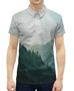 """Рубашка Поло с полной запечаткой """"Туман"""" - лес, природа, горы, пейзаж, туман"""