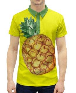 """Рубашка Поло с полной запечаткой """"Ананас"""" - экзотический, лето, акварель, фрукты, ананас"""