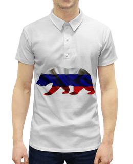 """Рубашка Поло с полной запечаткой """"Русский Медведь"""" - bear, медведь, русский, флаг, russian"""