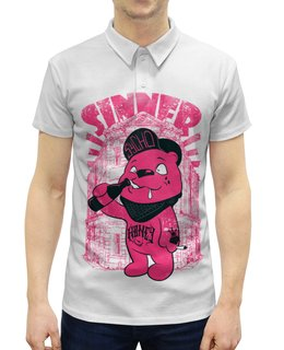 """Рубашка Поло с полной запечаткой """"Медведь бандит"""" - гранж, медведь, пиво, sinner, грешник"""
