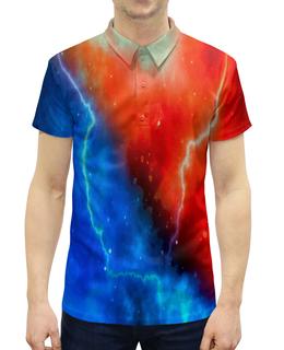 """Рубашка Поло с полной запечаткой """"Разряд молнии"""" - звезды, небо, молния, вспышка, разряд"""
