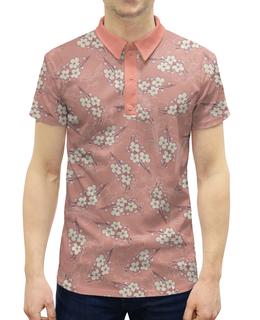 """Рубашка Поло с полной запечаткой """"Ветки цветущей вишни"""" - весна, розовый, вишня, ветка, фон"""