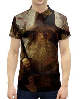 """Рубашка Поло с полной запечаткой """"Гэндальф"""" - кино, властелин колец, хоббит, hobbit, фродо"""