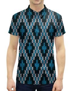 """Рубашка Поло с полной запечаткой """"Вязаный узор"""" - узор, цветные, ромбы, вязание, вязаный"""