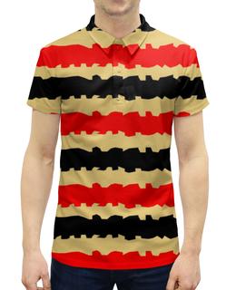 """Рубашка Поло с полной запечаткой """"Полоски с рванными краями"""" - полоска, черный, красный, бежевый, рваный"""