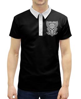 """Рубашка Поло с полной запечаткой """"Череп"""" - череп, филин"""