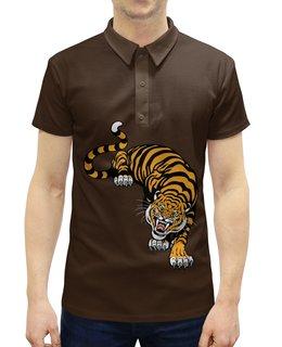 """Рубашка Поло с полной запечаткой """"Свирепый тигр"""" - тигр, животное"""