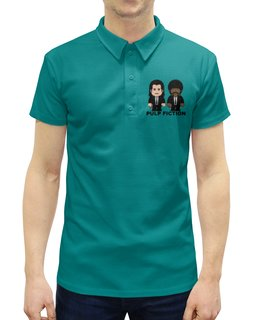 """Рубашка Поло с полной запечаткой """"Pulp Fiction"""" - культовое кино, джон траволта, сэмюэл лерой джексон, тарантино, криминальное чтиво"""