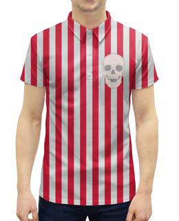 """Рубашка Поло с полной запечаткой """"Business skull"""" - череп, черепа, скелет, полоска, полосы"""