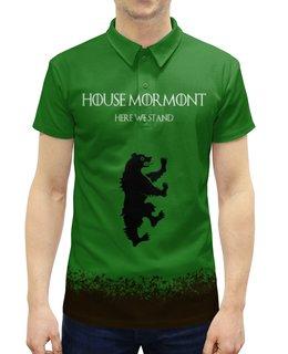"Рубашка Поло с полной запечаткой ""House Mormont"" - сериал, игра престолов, game of thrones, мормонт, mormont"