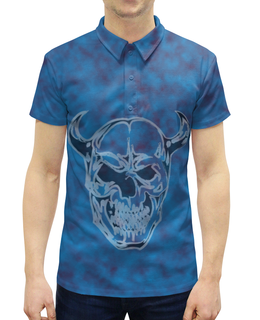 """Рубашка Поло с полной запечаткой """"Череп с рогами"""" - череп, рога, синий, красный, кости"""