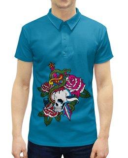 """Рубашка Поло с полной запечаткой """"Череп"""" - роза, змей, кинжал, череп"""