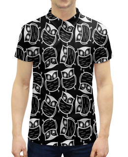 """Рубашка Поло с полной запечаткой """"Совушки"""" - птицы, животные, сова, совы, черно-белые"""