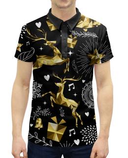 """Рубашка Поло с полной запечаткой """"Олени"""" - новый год, олени"""