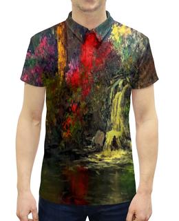 """Рубашка Поло с полной запечаткой """"Водопад"""" - картина, краски, природа, пейзаж, водопад"""