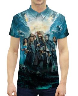 """Рубашка Поло с полной запечаткой """"Пираты Карибского моря"""" - пираты карибского моря, pirates of the caribbean 5, johnny depp, джонни деп"""