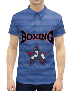 """Рубашка Поло с полной запечаткой """"Боксер"""" - звезда, полоска, бокс, боксер, перчатки"""