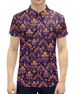 """Рубашка Поло с полной запечаткой """"Фиолетовая абстракция"""" - цветы, рисунок, абстракция, фиолетовый"""