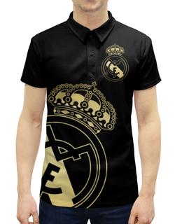 """Рубашка Поло с полной запечаткой """"Реал Мадрид"""" - футбол, real madrid, футбольный клуб, реал, реал мадрид"""