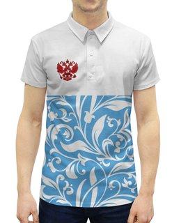 """Рубашка Поло с полной запечаткой """"Россия"""" - цветы, россия, герб, орел, хохлома"""