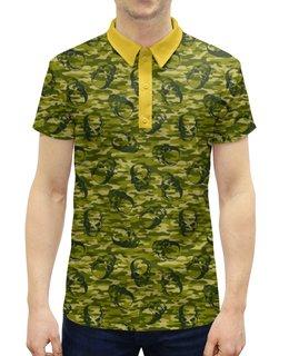 """Рубашка Поло с полной запечаткой """"Камуфляж и черепа"""" - череп, узор, черепа, камуфляж, военный"""