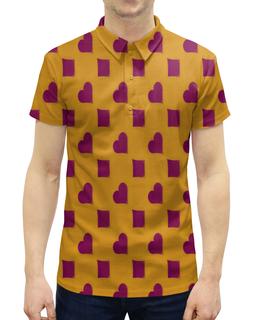 """Рубашка Поло с полной запечаткой """"Сердца и ромбы"""" - карты, узор, сердца, ромбы, масти"""