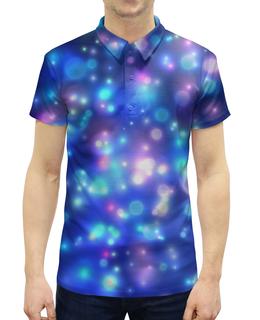 """Рубашка Поло с полной запечаткой """"Огоньки"""" - абстракт, огоньки, неон, синяя, яркая"""