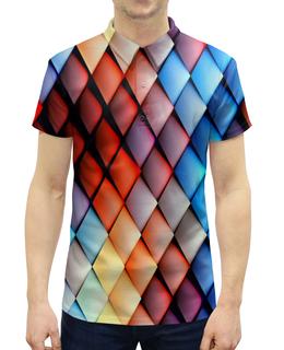"""Рубашка Поло с полной запечаткой """"Кубики абстракция"""" - квадраты, кубики, абстракция, графика, геометрия"""