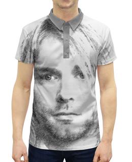 """Рубашка Поло с полной запечаткой """"Курт Кобейн"""" - музыка, nirvana, рок, певец, нирвана"""