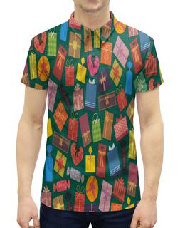"""Рубашка Поло с полной запечаткой """"Подарок"""" - праздник, бант, рисунок, подарок, сюрприз"""