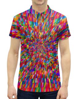 """Рубашка Поло с полной запечаткой """"Абстракция треугольники"""" - графика, краски, абстракция, цветные, треугольники"""