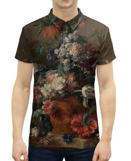"""Рубашка Поло с полной запечаткой """"Ваза с цветами (Ян ван Хёйсум)"""" - цветы, картина, живопись, натюрморт, ян ван хёйсум"""