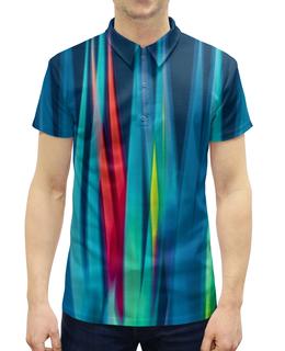 """Рубашка Поло с полной запечаткой """"Синие линии"""" - узор, полосы, краски, волны, линии"""