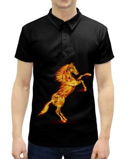 """Рубашка Поло с полной запечаткой """"Огненная лошадь"""" - лошадь, огонь"""