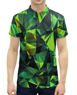 """Рубашка Поло с полной запечаткой """"Изумрудные стекла"""" - зеленый, абстракция, цветные, изумрудный, стекла"""