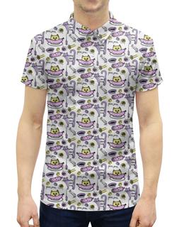 """Рубашка Поло с полной запечаткой """"Прикольные коты"""" - животные, коты, прикольные коты, колбаса"""