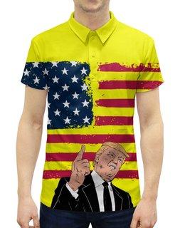 """Рубашка Поло с полной запечаткой """"Дональд Трамп"""" - сша, президент, трамп, дональдтрамп, donaldtrump"""