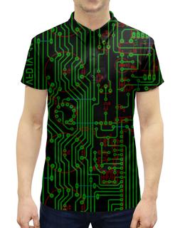 """Рубашка Поло с полной запечаткой """"Печатная плата"""" - электрика, электроника, технологии, микросхема, печатная плата"""