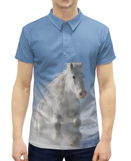 """Рубашка Поло с полной запечаткой """"Лошадь"""" - лошадь, фотография, животное, конь"""