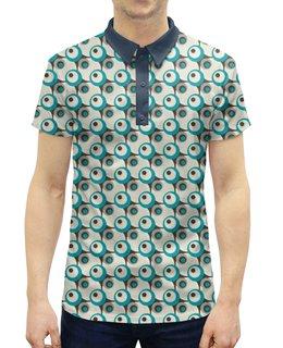 """Рубашка Поло с полной запечаткой """"Круги"""" - черный, серый, голубой, белый, круг"""