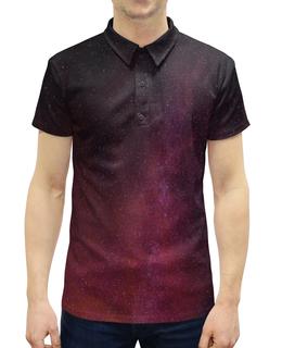 """Рубашка Поло с полной запечаткой """"Звездная ночь"""" - звезды, космос, краски, блики, вспышки"""