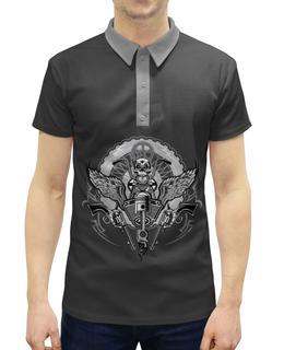 """Рубашка Поло с полной запечаткой """"Байкер"""" - мотоцикл, байкер, череп, спорт"""