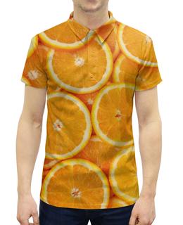 """Рубашка Поло с полной запечаткой """"Апельсин"""" - дизайн, фотография, апельсины"""